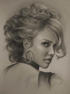 Ultra Realistic Portrait Drawings, looks like Jessica Alba
