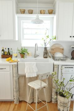 Get Inspired For Spring With This Dreamy, Rustic, White Kitchen