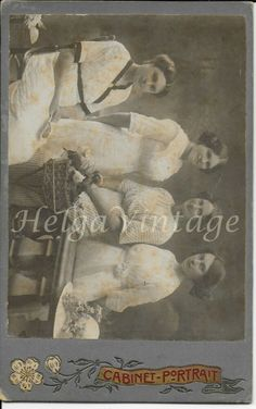 Antique cabinet photo with four nice ladies, ornate cardboard, cca. Jester Costume, Antique Cabinets, Bay City, Horse Drawn, Rare Antique, Anonymous, Vintage Ladies, Vintage Fashion, Nice
