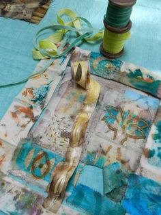 wool felt, arahannah silk, velvet, ribbon...  stitched and eucalyptus dyed  - Elizabeth Bunsen http://elizabethbunsen.typepad.com/be_dream_play/