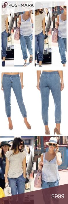 Coming Soon  Achieve a sporty chic look wearing these WAX denim joggers. This effortless design features a drawstring waist and a flattering slim cut leading to smocked ankle length cuffs. Pair these denim joggers with a printed off the shoulder peasant top and heels for a cute party outfit. 100% cotton ! Pants Track Pants & Joggers