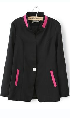 Mixed color long sleeved V neck one button suit black cute