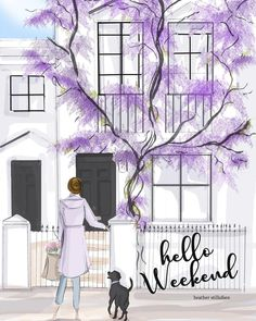 Wall Art for Women - Hello Weekend - Weekend in Kensington Chelsea Wisteria - Spring - London - Pink Wall Art - Magnolia Bon Weekend, Hello Weekend, Happy Weekend, Pink Wall Art, Wall Art Prints, Weekender, Pretty Woman, Teacher Photo, Kensington And Chelsea