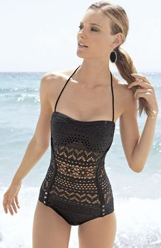 Crochet bathing suit pattern inspiration -- I love the structure and design of this suit.