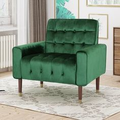 Green Accent Chairs You'll Love in 2019 Velvet Chaise Lounge, Velvet Wingback Chair, Chair And Ottoman, Velvet Chairs, Loveseat Sofa, Sofa Chair, Recliner, Sofas, Upholstered Dining Chairs