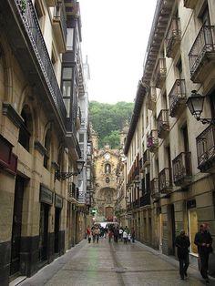 Old Town in San Sebastian, Spain..