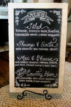 Menu Chalkboard for Wedding Reception {Calligraphy by Carrie}