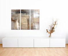 Abstraktes Wandbild beige rötlich 3x40x90cm dreiteiliges Wandbild auf Leinwand und Keilrahmen fertig zum aufhängen - Unsere Bilder auf Leinwand bestechen durch ihre ungewöhnlichen Formate und den extrem detaillierten Druck aus bis zu 100 Megapixel hoch aufgelösten Fotos