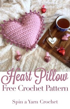 Heart Pillow - Spin a Yarn Crochet