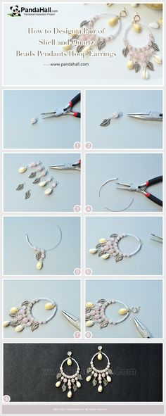 PandaHall Tutorial on Shell and Quartz Beads Pendants Hoop Earrings The summer has just gone and the fall is beginning. Do you wanna make a jewelry mixing the flavors of two seasons? Then you should try this pair of earrings! #pandahall #diy #craft #tutorial #jewelry #earrings #shell #pearl #pendant #dangle