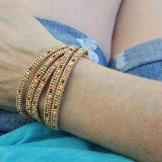 MIX OF SPRING COLORED JAPANESE MIYUKI BEADS ON NATURAL LEATHER wrap bracelet by Katie Joëlle