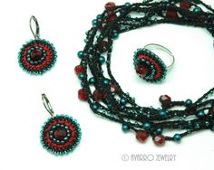 Black Red Turquoise Blue Beaded Jewelry Set by AvarroJewelry