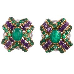 Tiffany & Co. Amethyst Emerald Diamond Gold Cushion Earrings | From a unique collection of vintage clip-on earrings at https://www.1stdibs.com/jewelry/earrings/clip-on-earrings/