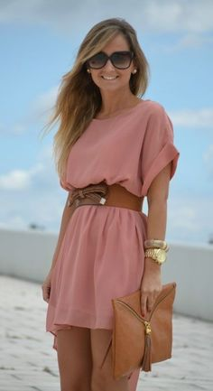 casual dress + pink dress + brown belt with bow + brown bag + gold accessories