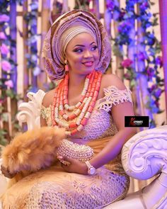 The smile when you know you'll be the queen of his heart forever. African Fashion Traditional, African Traditional Wedding Dress, Traditional Wedding Attire, Igbo Bride, Nigerian Bride, Nigerian Outfits, Nigerian Lace, Nigerian Weddings, African Wedding Attire