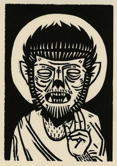 ✯ Father Wolfman :: By Iain Burke ✯ Dibujos Tumblr A Color, Monster Tattoo, Beton Diy, Classic Monsters, Monster Art, Horror Art, Printmaking, Concept Art, Art Photography