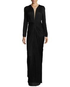 Ira Long-Sleeve V-Neck Draped Gown by Maria Lucia Hohan at Bergdorf Goodman.