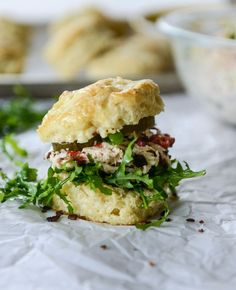 pimento cheese chicken salad on honey butter biscuits I http://howsweeteats.com