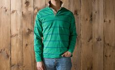 Vintage Gant Rugger Rugby Shirt in Kelly Green with Blue Stripes and Khaki Collar. $75.00, via Etsy.