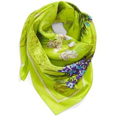 Echo 'Vintage Lily' Print Silk Square Scarf ($68) ❤ liked on Polyvore featuring accessories, scarves, citron, patterned scarves, floral shawl, silk scarves, vintage shawl and vintage scarves