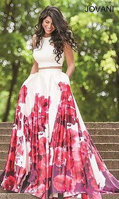 Long Two Piece Floral Print Jovani Dress