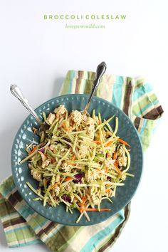 Broccoli Coleslaw - this unique coleslaw recipe might just be the best you've ever eaten! A must-try at your next party or potluck! | LoveGrowsWild.com