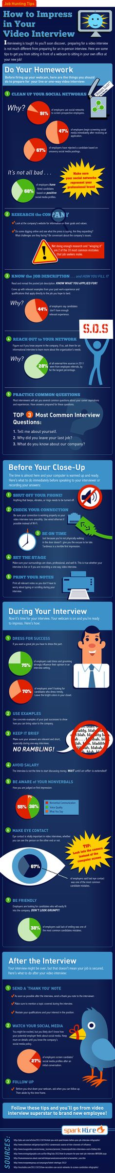 From setting the stage to watching your nonverbals, this infographic has all the tips you need to ace your next video interview!