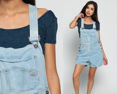 Short Overalls Denim Overall Faded 90s Grunge Jean by ShopExile
