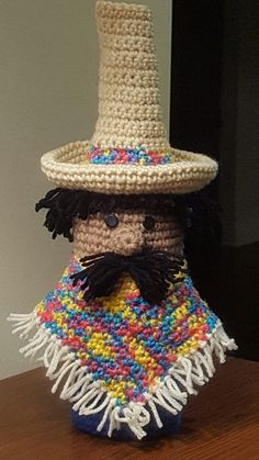 A Bottle Buddy to celebrate Cinco de Mayo. Created by Mary Ann Parker of Crochet by Mary Ann
