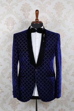 #Blue #velvet slim fit discerning embroidered #suit with shawl lapel -ST399