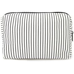 Forever 21 Pinstripe Makeup Bag ($6.90) ❤ liked on Polyvore featuring beauty products, beauty accessories, bags & cases, bags, forever 21, forever 21 makeup bag, purse makeup bag, toiletry kits and makeup purse