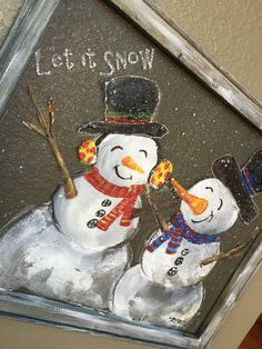 Snow man hand painting on screen outdoor by RebecaFlottArts
