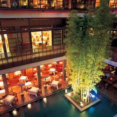 - a sleek boutique hotel, its open-plan design resolves around the lush patio. Fukuoka Japan, Travel Advise, Property Design, Unique Hotels, Hotel Interiors, Boutique Design, Plan Design, Wooden Flooring, Patio