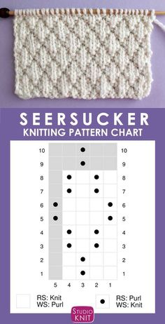 The Seersucker Stitch Knitting Pattern creates textured rows of raised puckered diamonds with an easy Repeat of knits and purls. - Tricot The Seersucker Stitch Knitting Pattern creates textured rows of raised puckered diamonds with an easy Repeat of kn. Knitting Charts, Easy Knitting, Loom Knitting, Knitting Stitches, Knitting Patterns Free, Knit Patterns, Stitch Patterns, Knitting Tutorials, Knitting Machine