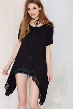 Nasty Gal On Your Side Oversized Tee - Black