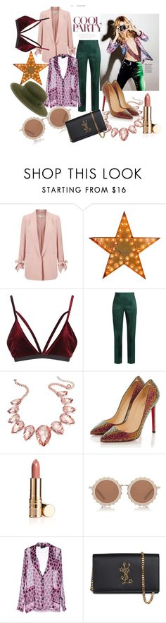 """COOL Party"" by blackyogurtgirl ❤ liked on Polyvore featuring Miss Selfridge, Boohoo, Rosie Assoulin, Thalia Sodi, Christian Louboutin, House of Holland, Atos Lombardini, Yves Saint Laurent and Maison Michel"