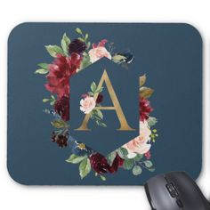 Floral Monogram A Faux Gold Mouse Pad  $11.85  by JunkyDotCom  - cyo customize personalize diy idea