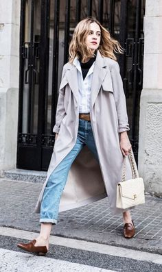 trench coat, jeans & mules.