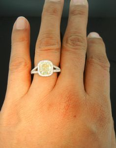 light yellow diamond I think this would look good on my skin. Yellow Diamond Engagement Ring, Colored Engagement Rings, Yellow Diamond Rings, Gold Diamond Earrings, Engagement Jewelry, Canary Diamond, Yellow Diamonds, Pink Sapphire, Cushion Diamond Ring