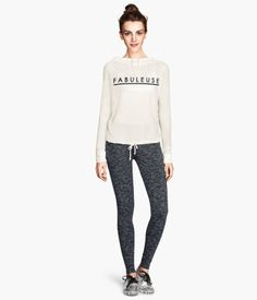 H&M's jersey leggings and hooded sweater. Cute outfit for those morning walks with the moms.