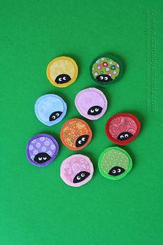 Ladybug Craft: Fabric Scrap Magnets by Amanda Formaro of Crafts by Amanda