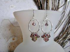 Lampwork Glass Hoop Earrings with Lavender and by SmockandStone, $15.00