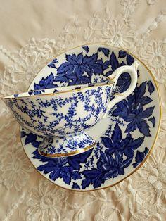 Fancy Coalport 'MAPLE LEAF' Cobalt Blue and White Tea