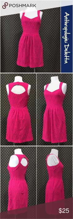 """Anthro """"Silverfield Sweetheart Dress"""" by Deletta Pink colorway.  Side zip, back buttons behind the neck, lined, great condition.  Thicker knit under the cotton lace overlay.     ☘️Prices are firm and quite reasonable 🍀Smoke Free Home 🍀Bundles Welcome but please keep them under 10 items (5lbs) 🍀Kitty friendly household 🚫No Trades 🚫No Offers 🚫No PayPal or Off-Site Transactions Anthropologie Dresses"""
