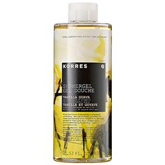 Korres Showergel, Vanilla Guava. the guava one smells sooo good, so methinks i would die over this.