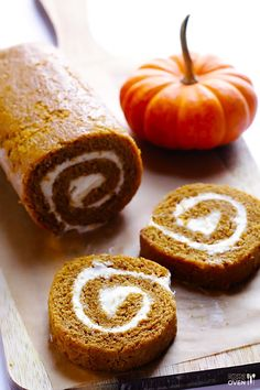 Homemade Pumpkin Roll -- simple to make, and filled with a delicious cream cheese icing #dessert #food #yummy #delicious