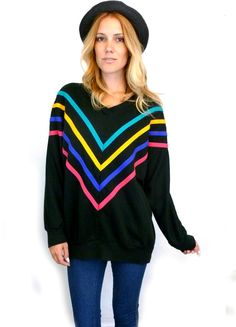 80s Neon CHEVRON V Neck Oversize SLOUCHY Sweater