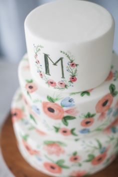 Hand Painted Watercolor Monogram Wedding Cake