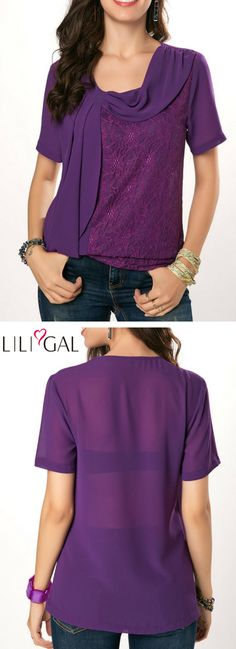 Purple Short Sleeve Lace Panel Blouse   #liligal #top #blouse #shirts #tshirt