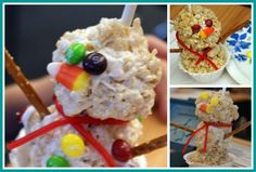 Snowmen Rice Crispy treats- fun for a class party craft/snack!